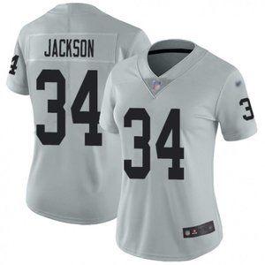 Women  Raiders Bo Jackson Silver Jersey